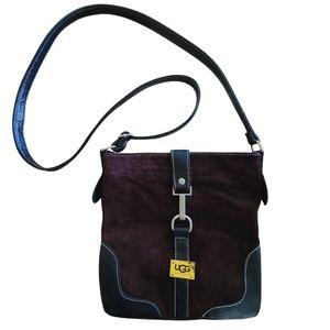 Ugg Australia Leather Brown Black Crossbody Bag